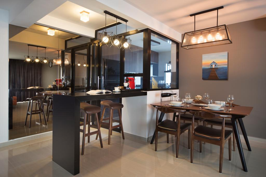 Contemporary, HDB, Dining Room, Compassvale Crescent (Block 293D), Interior Designer, Urban Design House, Hanging Lights, Wooden Dining Table, Wooden Dining Chair, Glass Panels, Ceramic Floor Tiles, Picture Frame, Floor Mounted Table