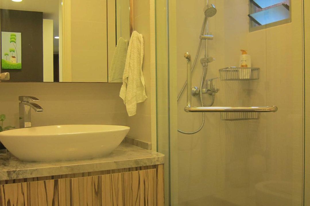 Sunhaven, The Design Practice, Modern, Bathroom, Condo, Tiles, Shower, Cubicle, Wash Basin, Vanity Cabinet, Mirror, Basin, Architecture, Building, Skylight, Window, Indoors, Interior Design, Room