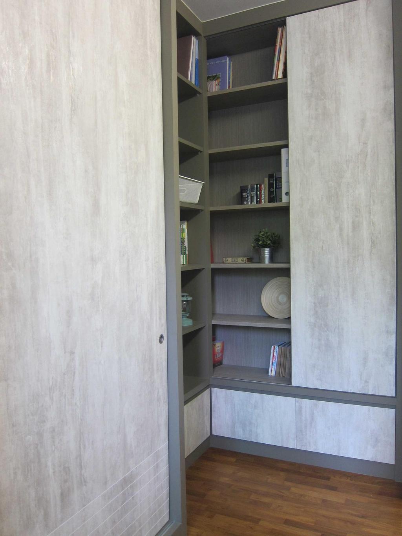 Modern, Condo, Study, Sunhaven, Interior Designer, The Design Practice, Shelves, Bookshelf, Display Unit, Storage, Cupboard, Sliding Door, Gray, Grey, Shelf, Closet, Furniture, Bookcase