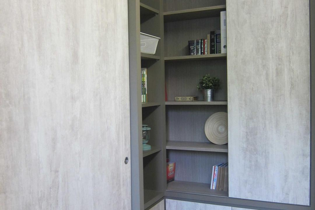 Sunhaven, The Design Practice, Modern, Study, Condo, Shelves, Bookshelf, Display Unit, Storage, Cupboard, Sliding Door, Gray, Grey, Shelf, Closet, Furniture, Bookcase