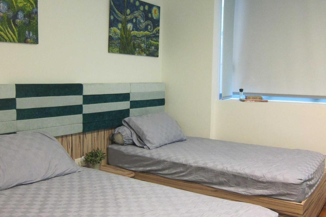 Sunhaven, The Design Practice, Modern, Bedroom, Condo, Wooden Cupboard, Headboard, Beds, Wood, Laminate, Window, Blind