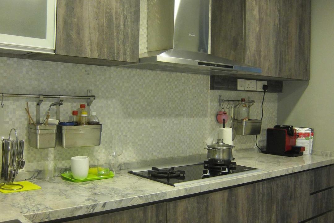 Sunhaven, The Design Practice, Modern, Kitchen, Condo, Kitchen Counter, Counter, Laminate, Brown, Grey, Neutral Tone, Tile, Indoors, Interior Design, Room