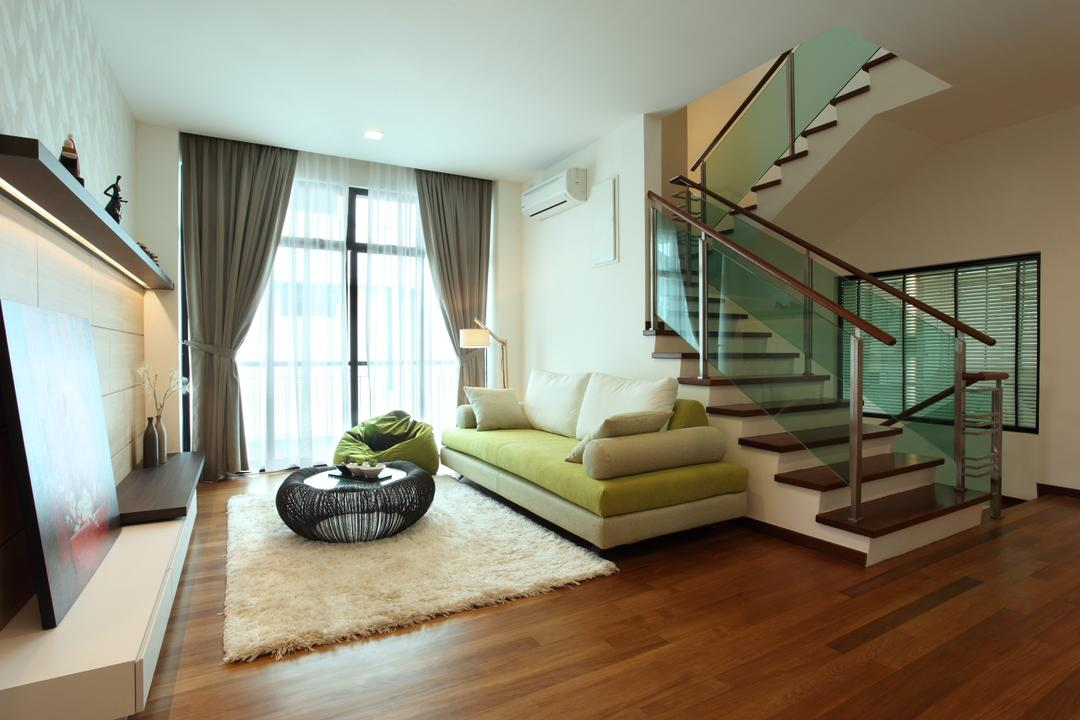 Indah Villa Bungalow, Oriwise Sdn Bhd, Modern, Contemporary, Living Room, Landed, Curtain, Home Decor, Hardwood, Wood, Couch, Furniture, Indoors, Room, Carpet