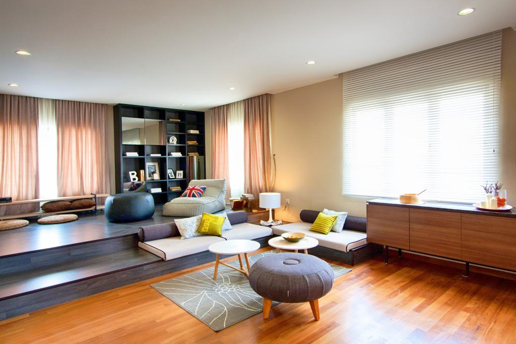 Modern, Landed, Living Room, 3 Storey Semi-Detached House, Sutera Utama, Interior Designer, Oriwise Sdn Bhd, Indoors, Room, Couch, Furniture, Flooring