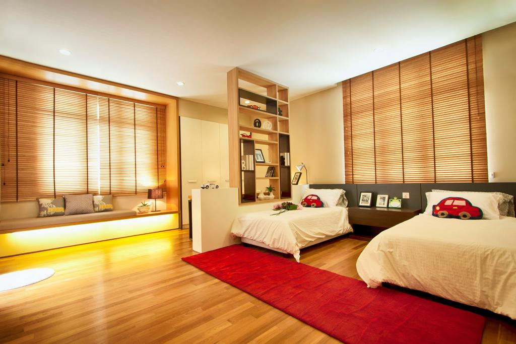 Modern, Landed, Bedroom, 3 Storey Semi-Detached House, Sutera Utama, Interior Designer, Oriwise Sdn Bhd, Flooring, Indoors, Room