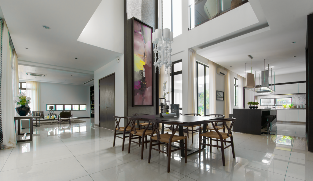 Modern, Landed, Dining Room, The Straits View Residences, Interior Designer, Oriwise Sdn Bhd, Dining Table, Furniture, Table, Indoors, Interior Design, Chair, Food, Food Court, Restaurant, Room