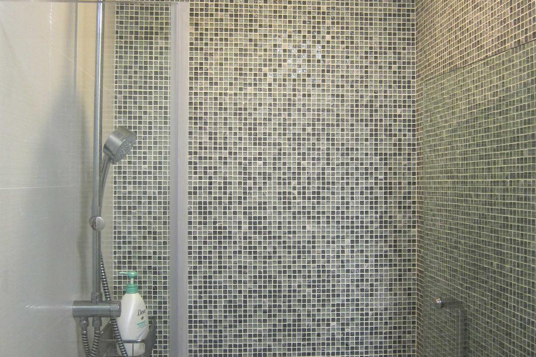 Sunhaven, The Design Practice, Modern, Bathroom, Condo, Shower, Cubicle, Tiles, Glass Door, Scroll