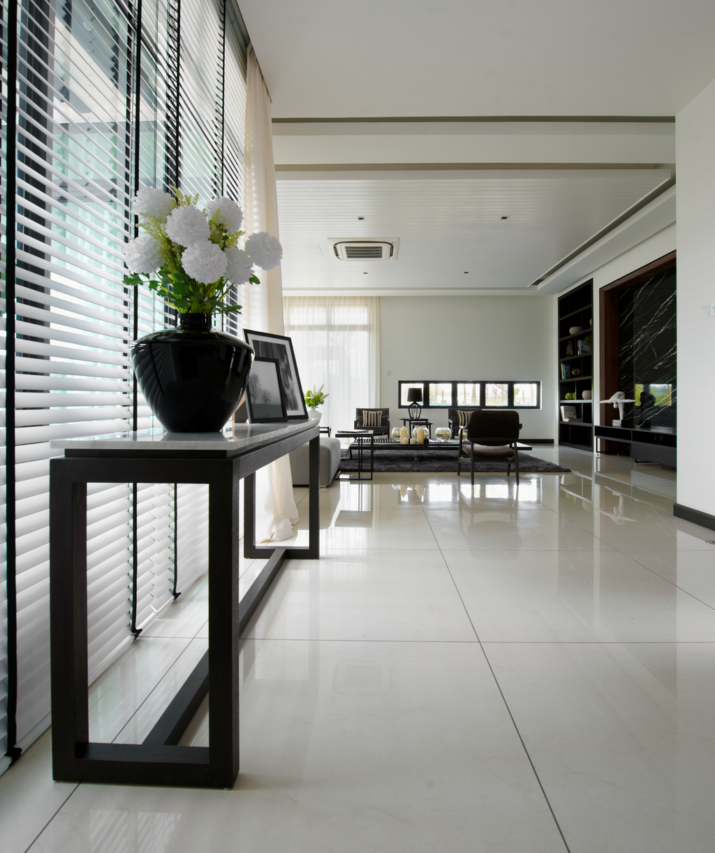 Modern, Landed, Living Room, The Straits View Residences, Interior Designer, Oriwise Sdn Bhd, Flora, Jar, Plant, Potted Plant, Pottery, Vase, Flooring, Dining Table, Furniture, Table, Indoors, Interior Design
