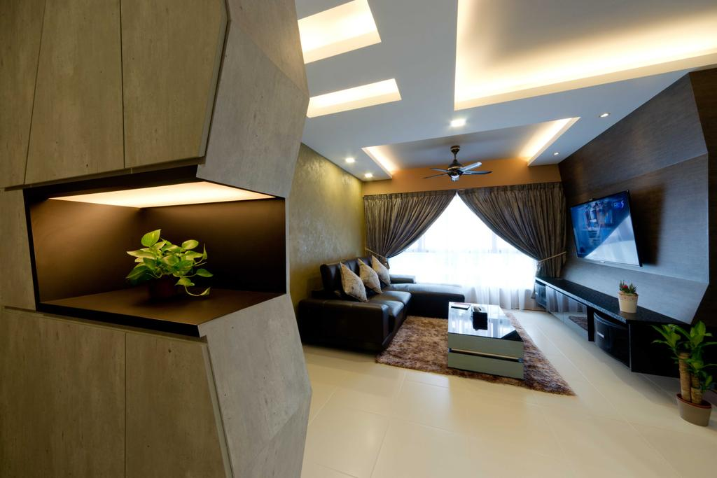 Contemporary, HDB, Living Room, Punggol Walk 1, Interior Designer, Unity ID, Muted Tones, Neutral, Wallpaper, Fabric, Curtains, Spotlight, Concealed Lighting, Ceiling Fan, Tiles, Carpet, Rug, Coffee Table, Sofa, Brocade, Feature