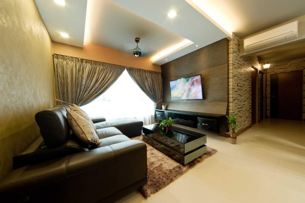 Contemporary, HDB, Living Room, Punggol Walk 1, Interior Designer, Unity ID, Muted Tones, Neutral, Wall Paper, Fabric Curtains, Spotlight, Concealed Lighting, Ceiling Fan, Tiles, Carpet, Coffee Table, Sofa, Brocade, Leather, Tv Console