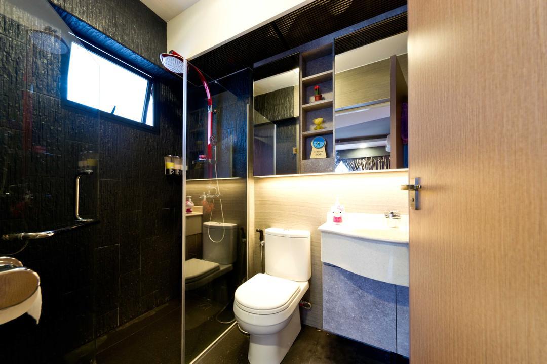 Punggol Walk 1, Unity ID, Contemporary, Bathroom, HDB, Vanity Cabinet, Shower, Cubicle, Wash Basin, Black Tiles, Tile