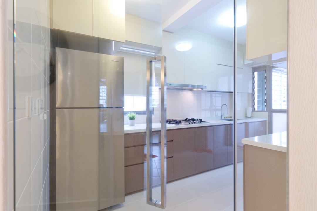 Punggol Walk 2, Unity ID, Transitional, Kitchen, HDB, Glass Door, Glass Partition, Glass, Tile, Tiles, Wooden, Ceiling Lamp