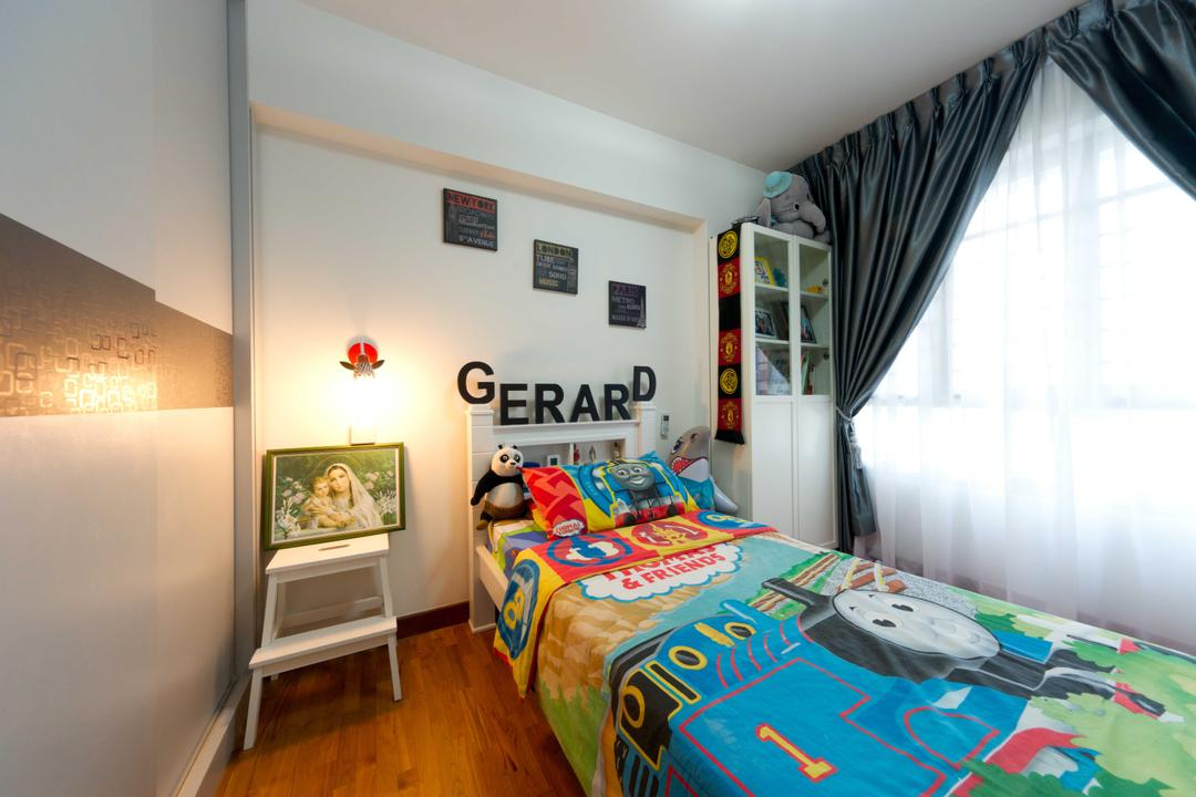 Punggol Walk 2, Unity ID, Transitional, Bedroom, HDB, Kids Room, Kids, Curtain, Wall Light, Wooden Flooring, Wood, Storage, Display Unit
