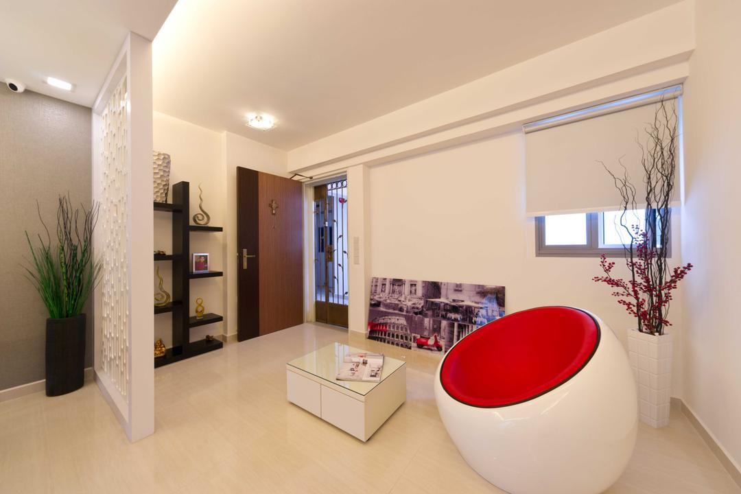 Punggol Walk 2, Unity ID, Transitional, Living Room, HDB, Space, Tile, Tiles, Partition, Entrance, Blinds, Couch, White, Ceiling Lamp
