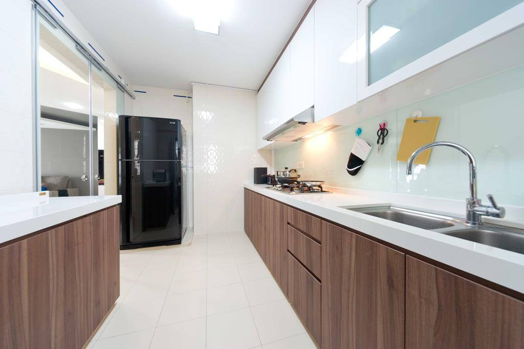Contemporary, HDB, Kitchen, Woodlands Ave 1, Interior Designer, Unity ID, Wood, Laminate, Kitchen Counter, Counter, Sink, Display Cabinet, Storage, Tile, Tiles, White, Hanging Light