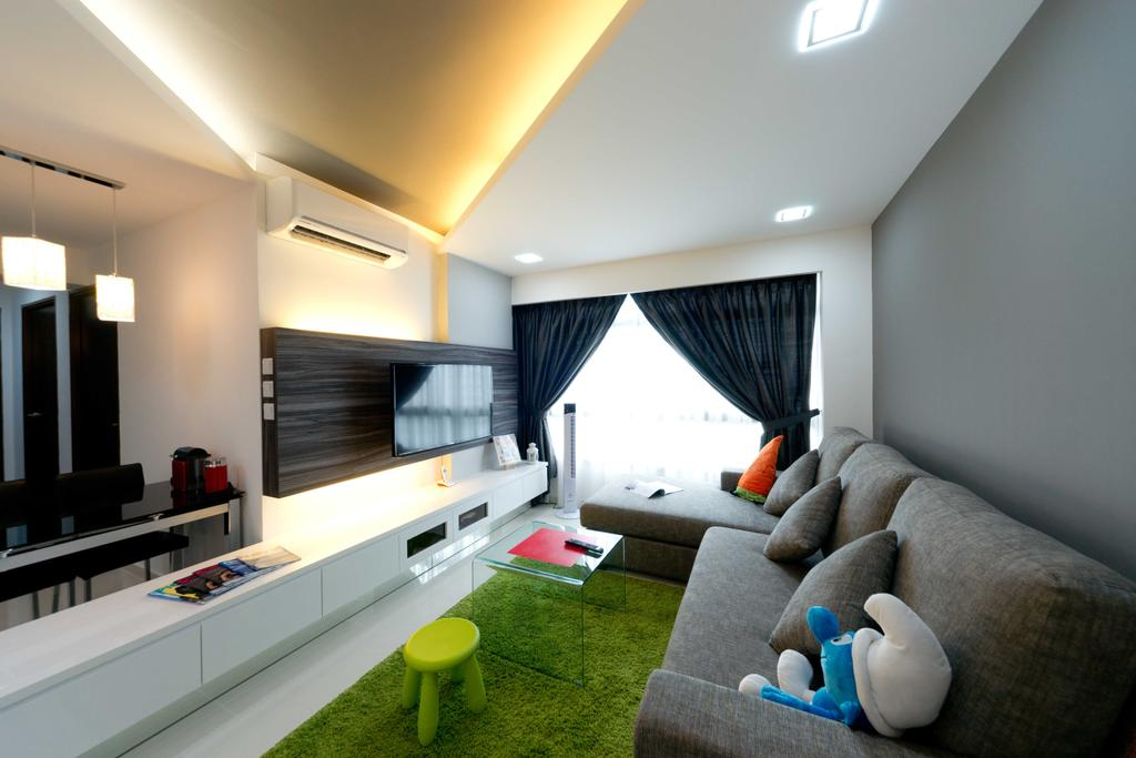 Contemporary, HDB, Living Room, Woodlands Ave 1, Interior Designer, Unity ID, Tv Console, White Console, Sofa, Carpet, Rug, Concealed Lighting, Curtains, Full Length Window, False Ceiing, Bay Window, Window Seat, Coffee Table