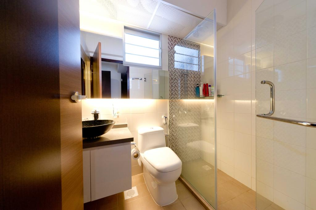 Contemporary, HDB, Bathroom, Woodlands Ave 1, Interior Designer, Unity ID, Shower, Cubicle, Tile, Tiles, Vanity Cabinet, Warm Lighting, Warm Tones, Wash Basin
