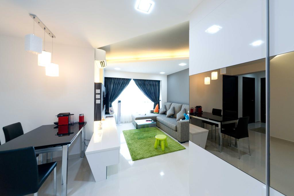 Contemporary, HDB, Dining Room, Woodlands Ave 1, Interior Designer, Unity ID, Full Length Mirror, Tiles, White Tile, Table, Chairs, Hanging Lights, Carpet, Rug, Sofa, Full Length Window, Curtain, Tv Console