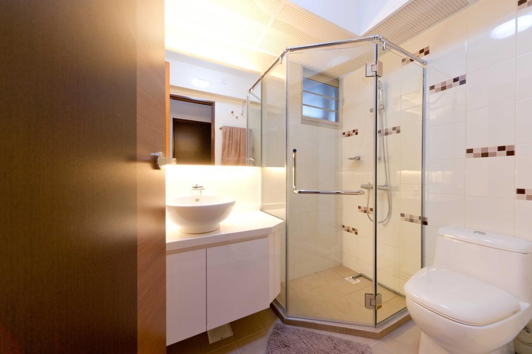 Woodlands Ave 1, Unity ID, Contemporary, Bathroom, HDB, Shower, Cubicle, Tiles, Tile, Vanity Cabinet, Wash Basin, Concealed Lighting, Lighting