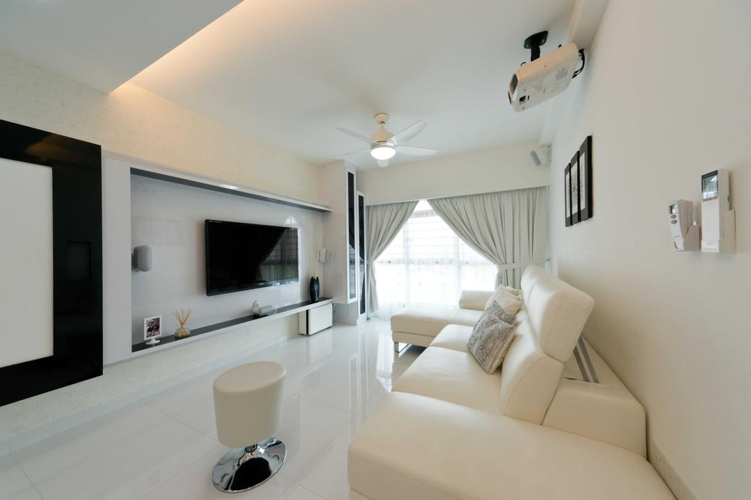 Punggol Place, Unity ID, Modern, Living Room, HDB, Tv Console, Entertainment Room, Projector, Space, Tiles, Tile, White, Sofa, Curtains, Full Length Windows, Wall Art, Ceiling Fan, Monochrome, Classic, Basic, Elegant