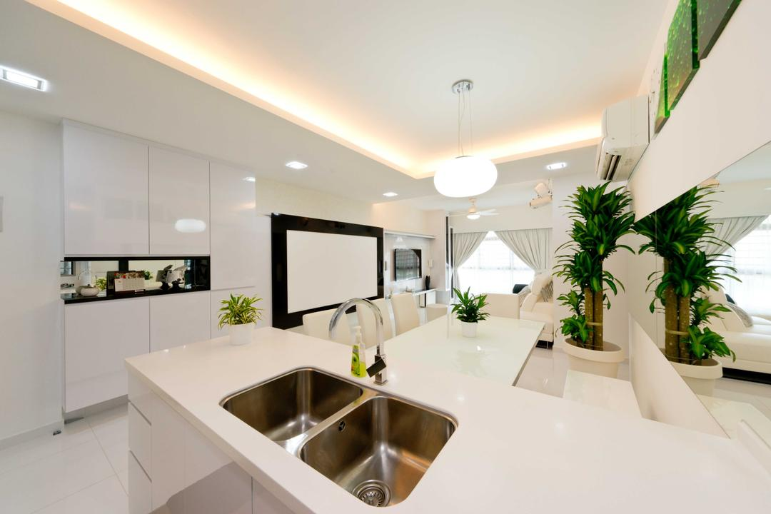 Punggol Place, Unity ID, Modern, Kitchen, HDB, Sink, Kitchen Counter, Counter, White, Neutral, Classic, Elegant, Sleek, Monochrome, Clean, Space, Concealed Lighting