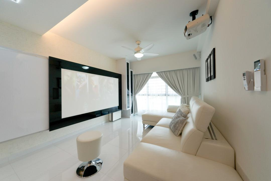 Punggol Place, Unity ID, Modern, Living Room, HDB, Tv Console, Curtains, Projector, Entertainment Room, Sofa, Full Length Windows, White, Palette, Neutral, Monochrome, Tiles, Black