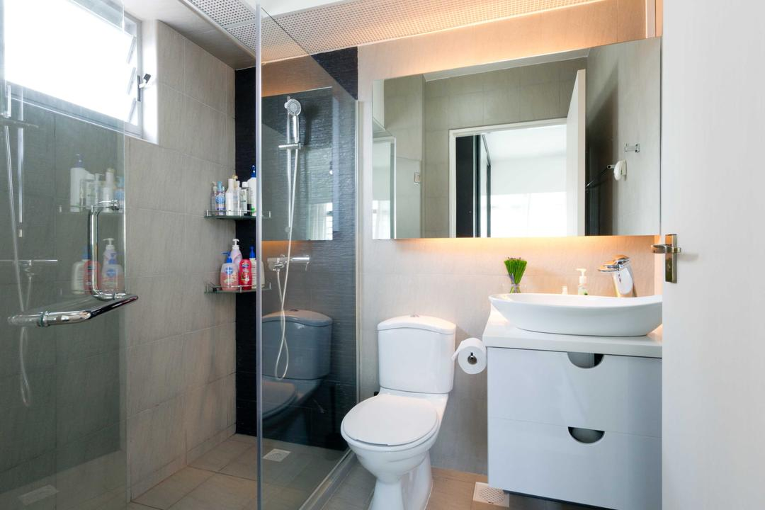 Punggol Place, Unity ID, Modern, Bathroom, HDB, Tile, Tiles, Shower, Cubicle, Vanity Cabinet, Rug, Simple, Basic