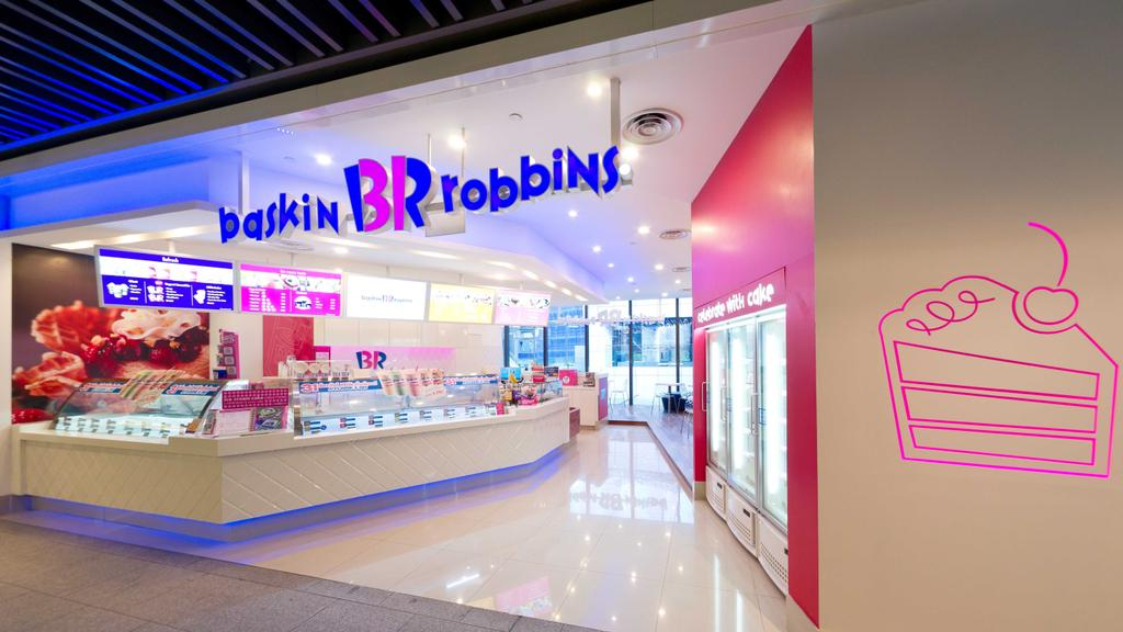 Baskin Robbins (JEM), Commercial, Interior Designer, Unity ID, Contemporary, Shop Front, Shop Exterior, Shop Entrance, Exterior, Exit, Freezer, Tile, Tiles, White, Pink, Concealed Lighting, Counter, Shop Counter, Red Wall, Wall Art