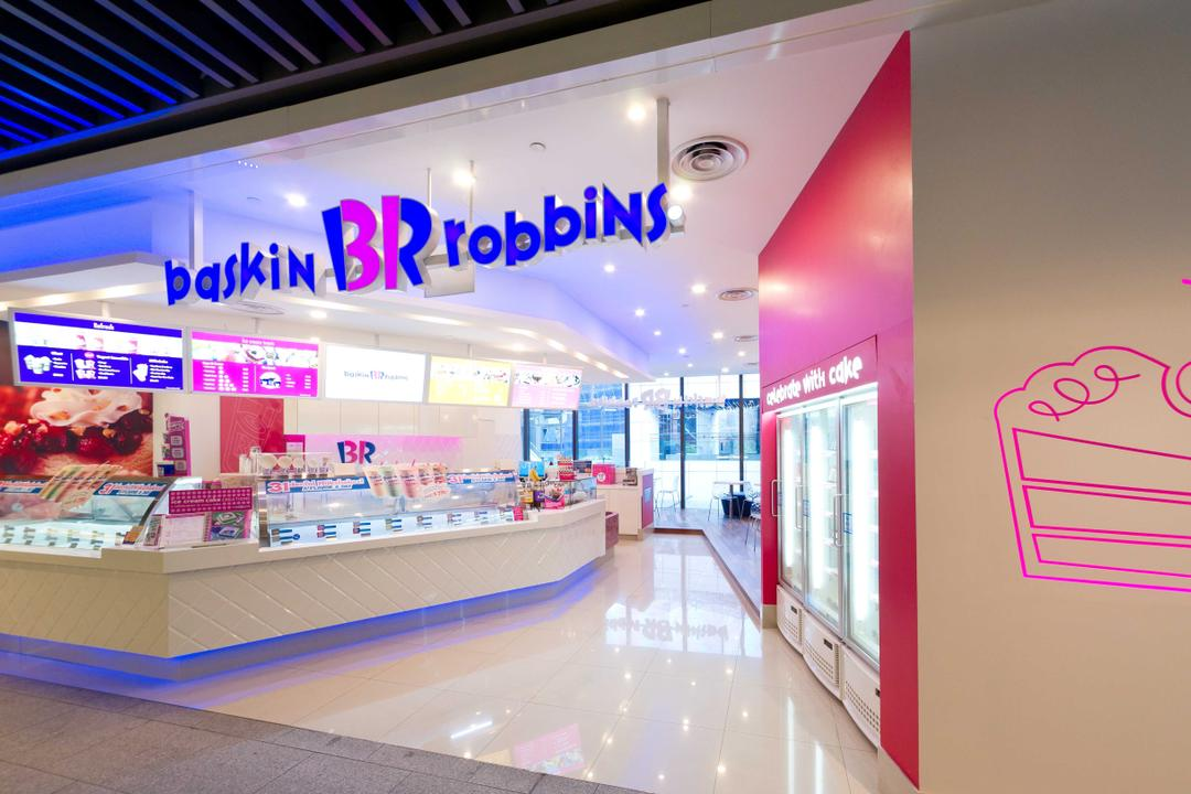 Baskin Robbins (JEM), Unity ID, Contemporary, Commercial, Shop Front, Shop Exterior, Shop Entrance, Exterior, Exit, Freezer, Tile, Tiles, White, Pink, Concealed Lighting, Counter, Shop Counter, Red Wall, Wall Art