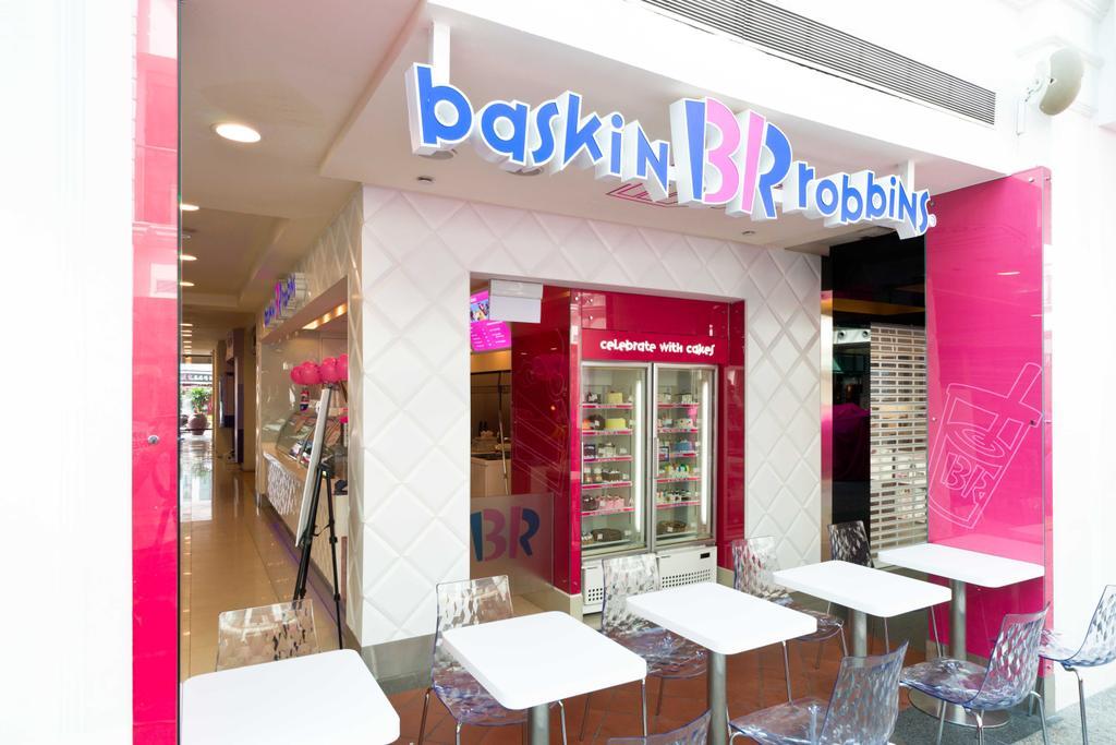 Baskin Robbins (Bugis Junction), Commercial, Interior Designer, Unity ID, Contemporary, White, Tables, Chairs, Transparent, Tiles, Shop Front, Shop Exterior, Shop Entrance, Exit, Exterior, Entrance