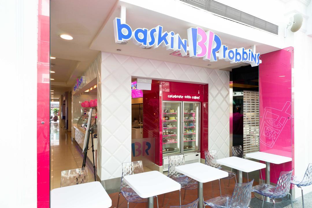 Baskin Robbins (Bugis Junction), Unity ID, Contemporary, Commercial, White, Tables, Chairs, Transparent, Tiles, Shop Front, Shop Exterior, Shop Entrance, Exit, Exterior, Entrance
