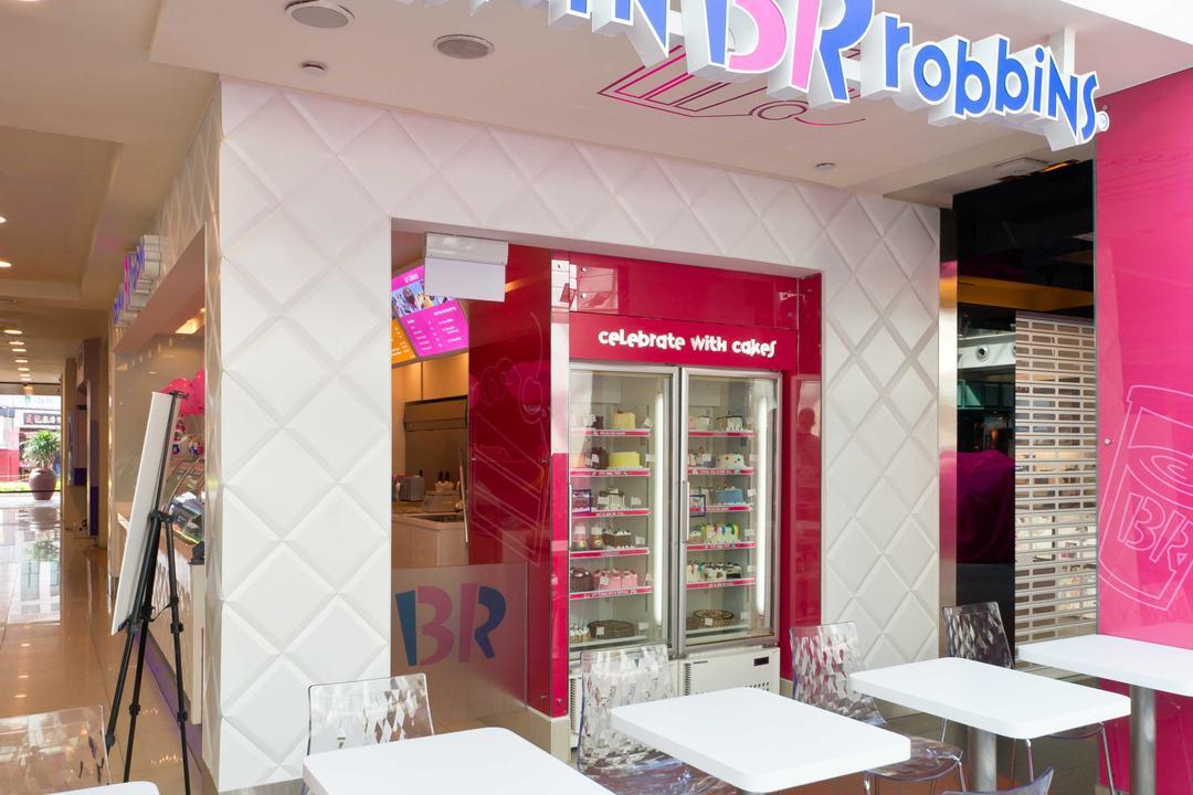 Baskin Robbins (Bugis Junction), Unity ID, Contemporary, Commercial, White, Tables, Chairs, Transparent, Tiles, Shop Front, Shop Exterior, Shop Entrance, Exterior, Entrance
