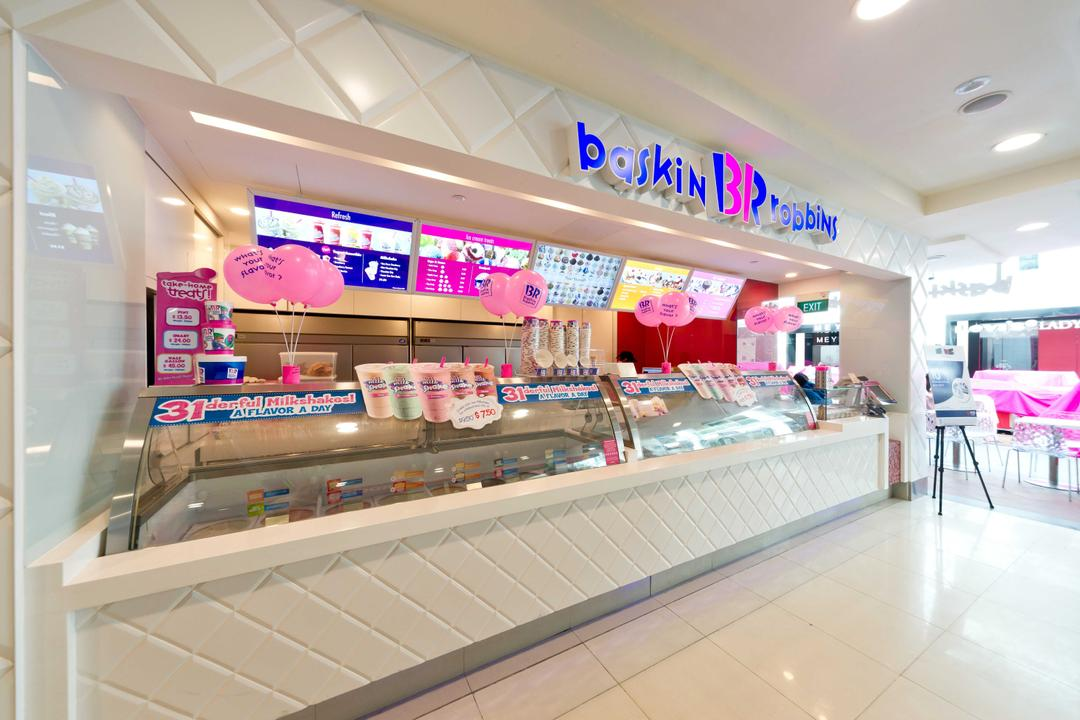 Baskin Robbins (Bugis Junction), Unity ID, Contemporary, Commercial, Shop Interior, Shop Counter, Counter, White, Tile, Tiles, Quilted, Freezer, Interior, Space