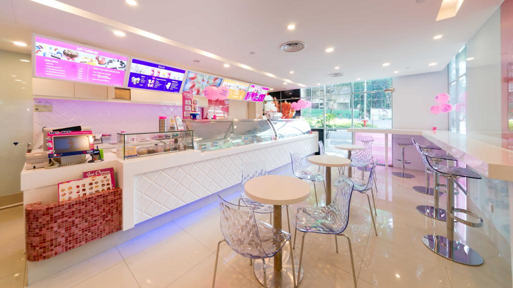 Baskin Robbins (Plaza Singapura), Commercial, Interior Designer, Unity ID, Eclectic, White, Space, Tiles, Tile, Pink, Colourful, Counter, Shop Interior, Tables, Chairs, Spotlight