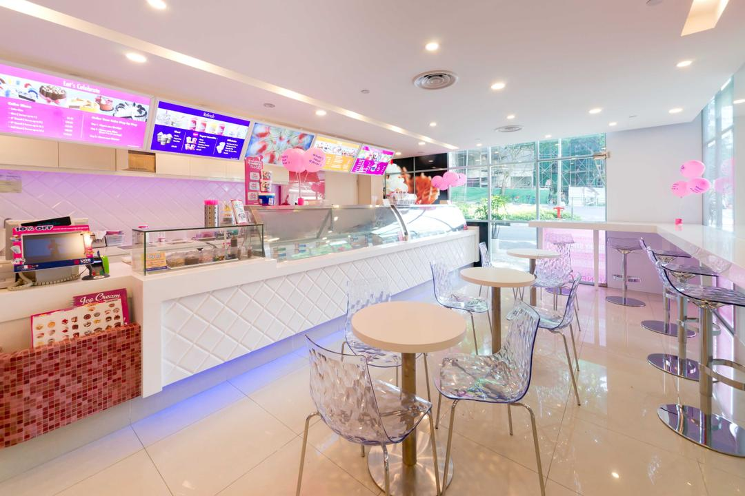 Baskin Robbins (Plaza Singapura), Unity ID, Eclectic, Commercial, White, Space, Tiles, Tile, Pink, Colourful, Counter, Shop Interior, Tables, Chairs, Spotlight