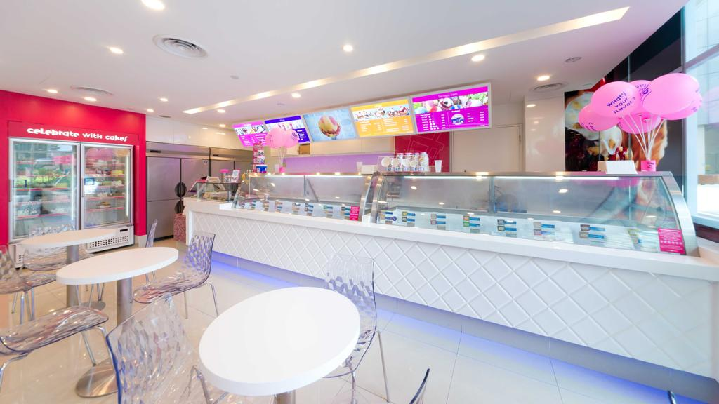 Baskin Robbins (Plaza Singapura), Commercial, Interior Designer, Unity ID, Eclectic, Red, Pink, White, Counter, Shop Counter, Shop Interior, Freezer, Tables, Chairs, Concealed Lighting, Spotlight, Tile, Tiles