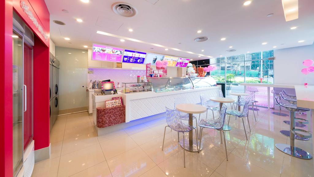 Baskin Robbins (Plaza Singapura), Commercial, Interior Designer, Unity ID, Eclectic, White, Space, Tile, Tiles, Pink, Colourful, Counter, Shop Interior, Tables, Chairs, Concealed Lighting, Spotlight