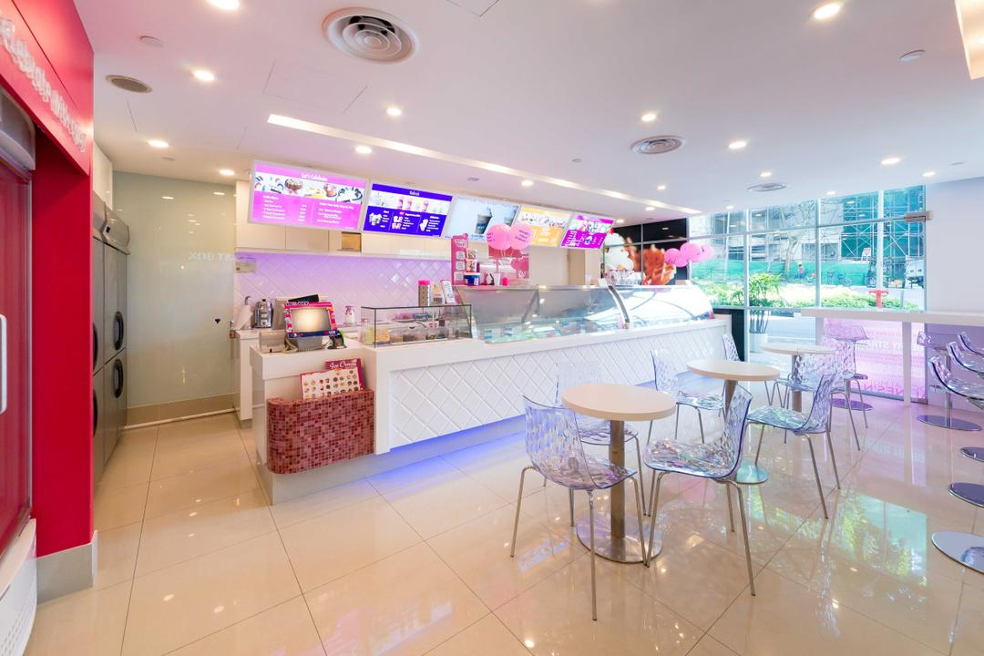 Baskin Robbins (Plaza Singapura), Unity ID, Eclectic, Commercial, White, Space, Tile, Tiles, Pink, Colourful, Counter, Shop Interior, Tables, Chairs, Concealed Lighting, Spotlight