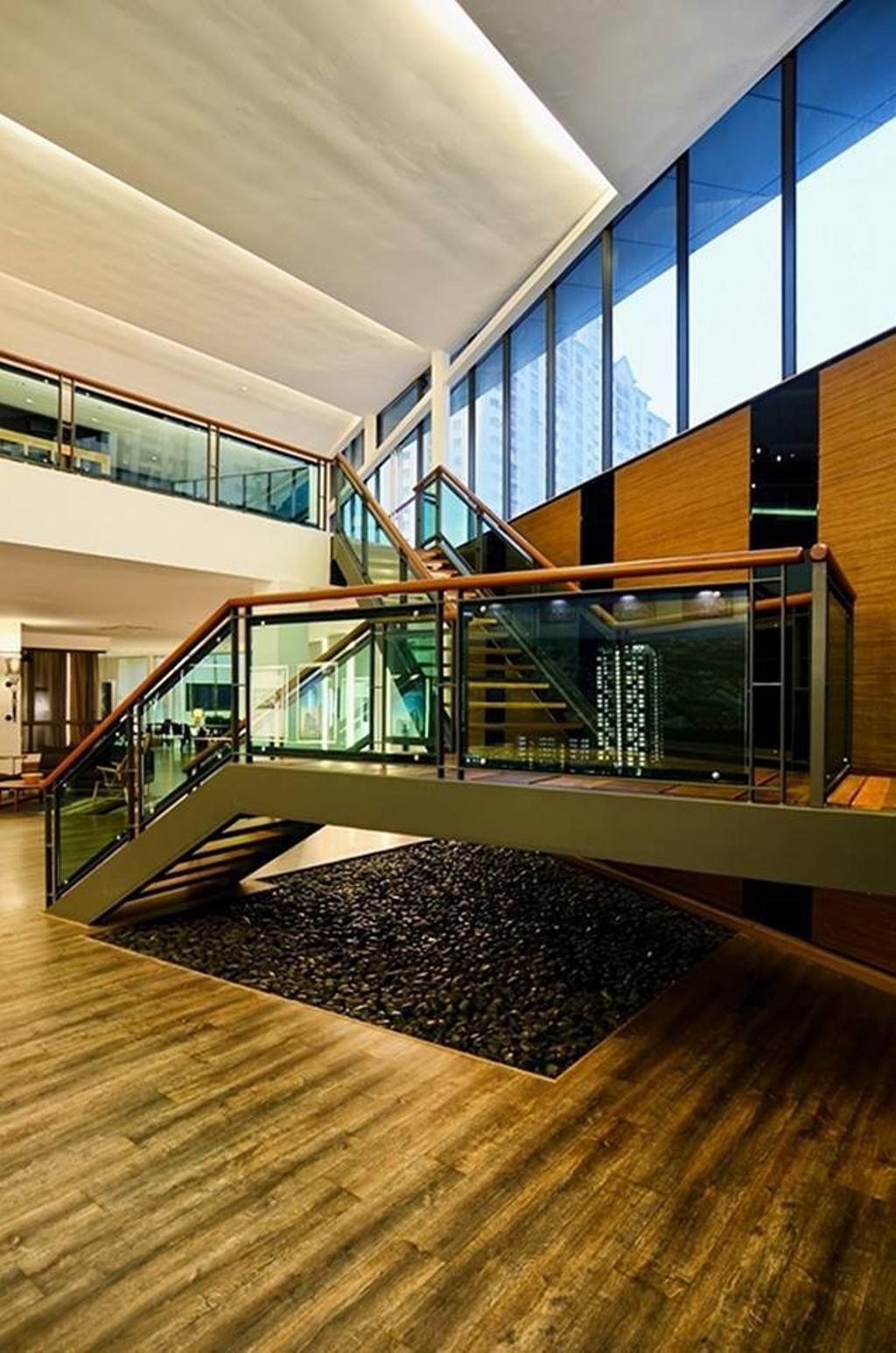 Contemporary, Landed, Show Unit Mont Kiara, Interior Designer, One Space Sdn Bhd, Banister, Handrail, Staircase
