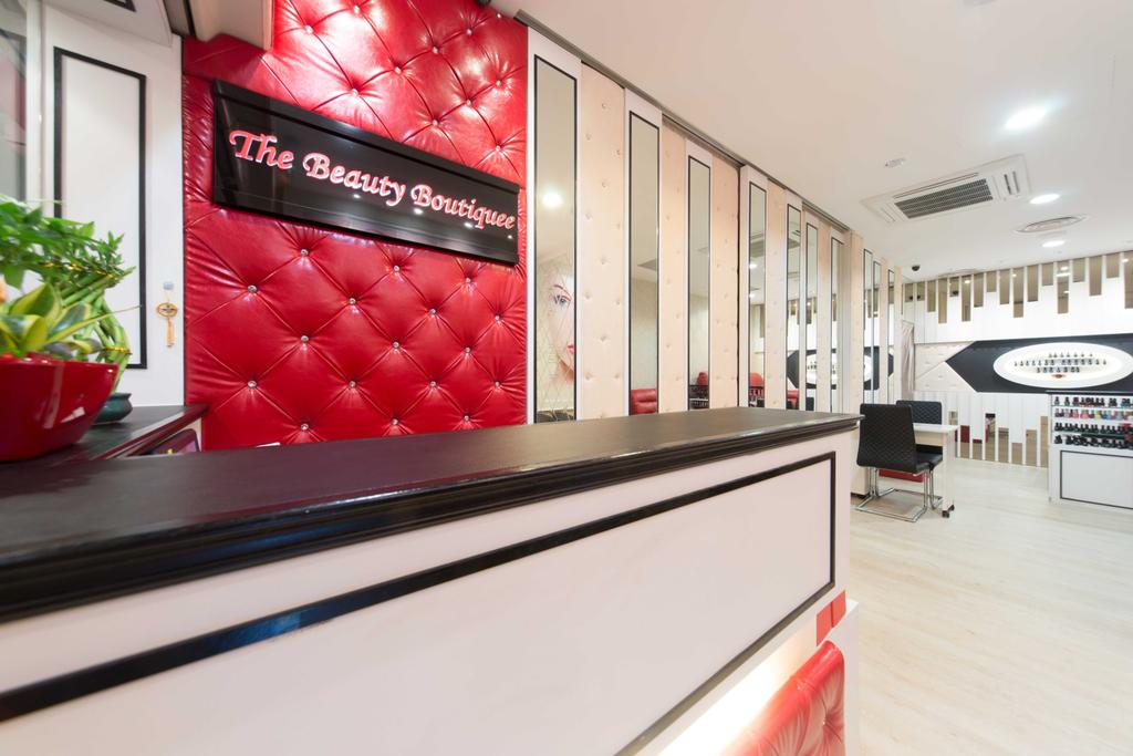 Clementi 2, Commercial, Interior Designer, Unity ID, Contemporary, Wooden Laminate, Wooden Flooring, Mirror, Red, White, Counter, Shop Counter
