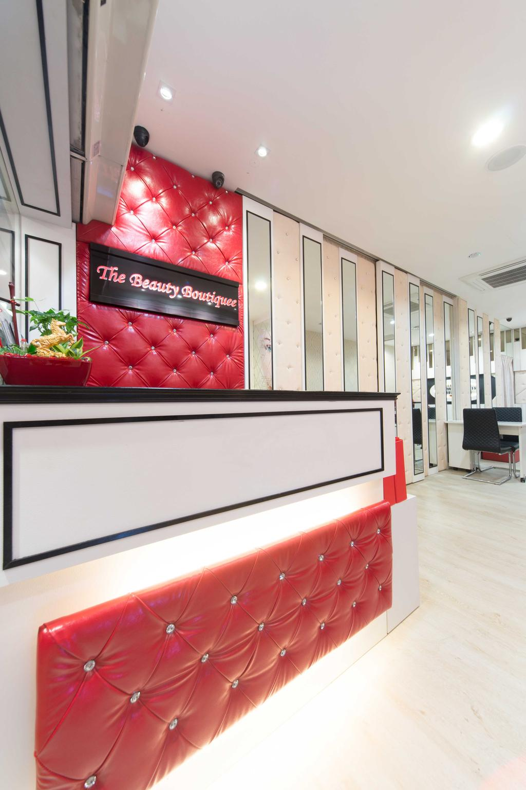 Clementi 2, Commercial, Interior Designer, Unity ID, Contemporary, Shop Counter, Red, White, Wooden Laminate, Wooden Flooring