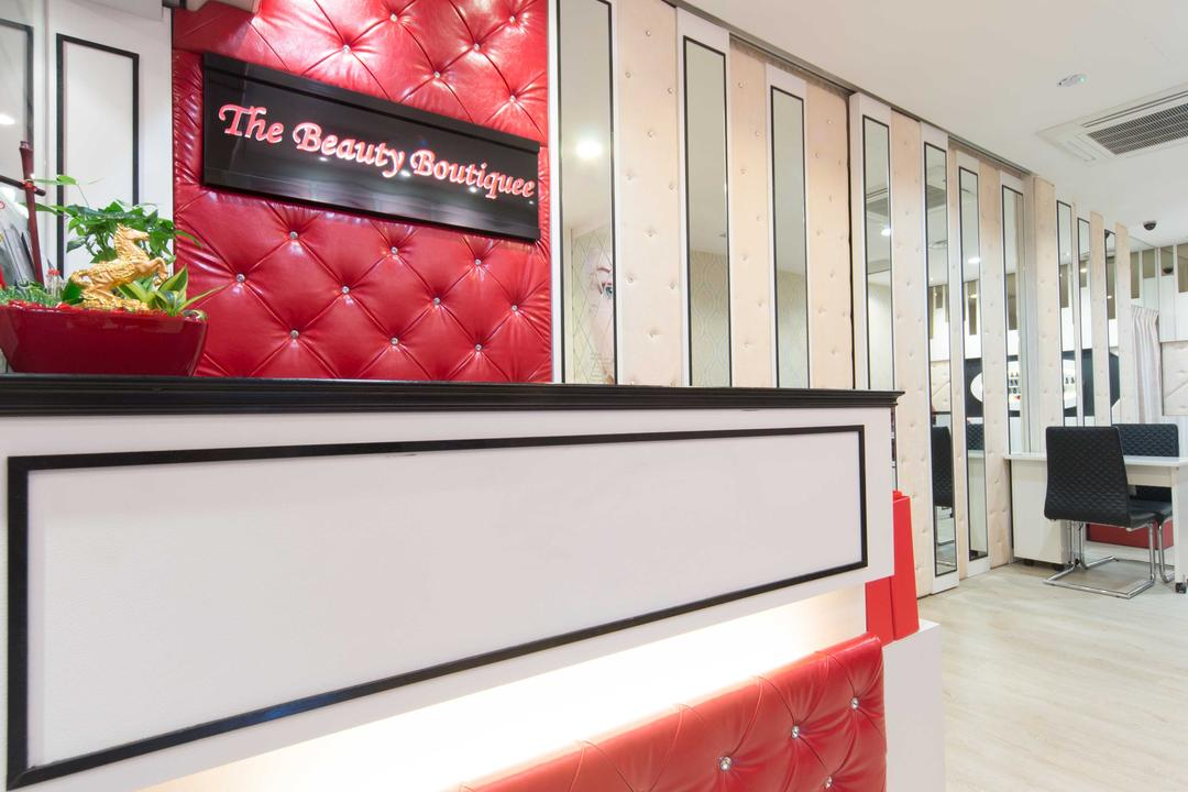 Clementi 2, Unity ID, Contemporary, Commercial, Shop Counter, Red, White, Wooden Laminate, Wooden Flooring