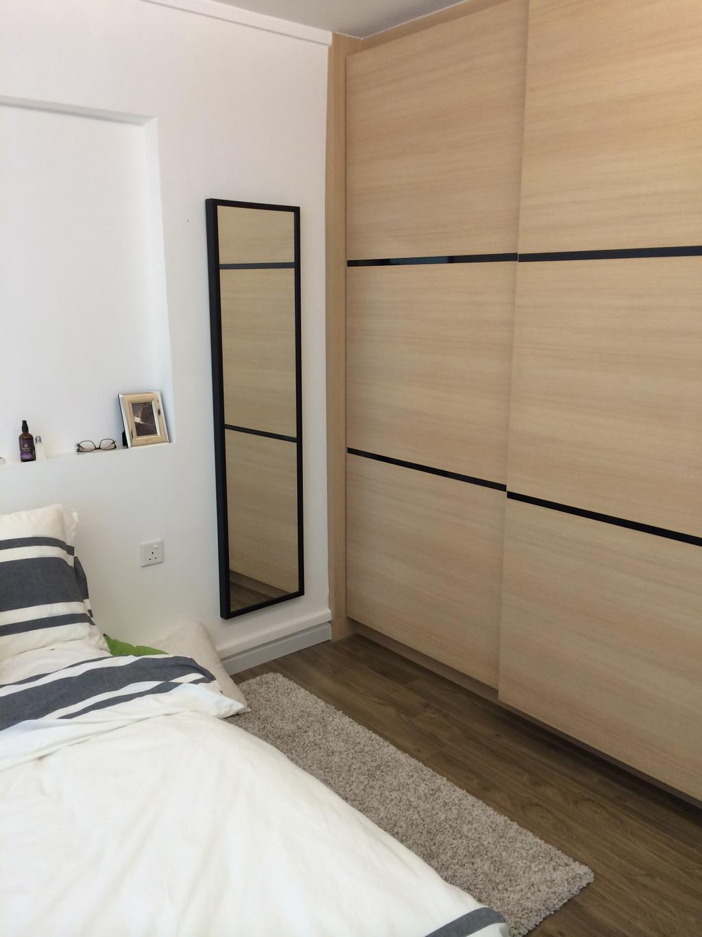 Scandinavian, HDB, Bedroom, Serangoon, Interior Designer, Juz Interior, Cupboard, Wardrobe, Wood, Laminate, Mirror, Headboard, Wall, Rug, Carpet, Monochrome, Neutral, Indoors, Interior Design, Room, Bed, Furniture