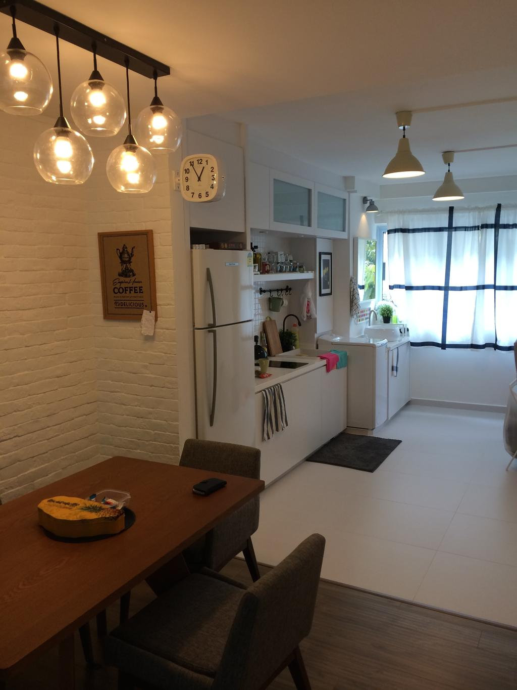 Scandinavian, HDB, Dining Room, Serangoon, Interior Designer, Juz Interior, Hdb, White, Tile, Brown, Hanging Lights, Kitchen, Lamp, Wood, Laminate, Space, Storage, Cabinet, Couch, Furniture