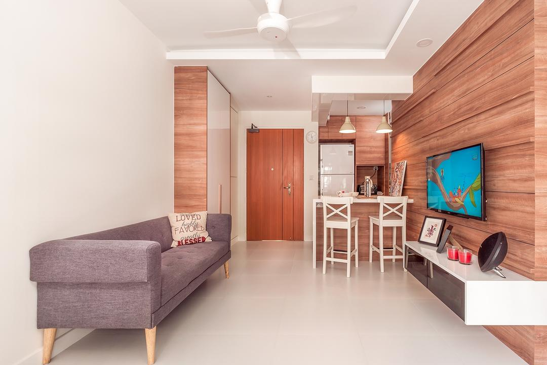 Fernvale Street (Block 473A), Icon Interior Design, Scandinavian, Minimalistic, Living Room, HDB, Purple Sofa, Ceiling Fan, White Wall, Wooden Grooved Wall, Wall Mounted Television, Floating Console, Furniture, Studio Couch, Indoors, Interior Design, Dining Table, Table