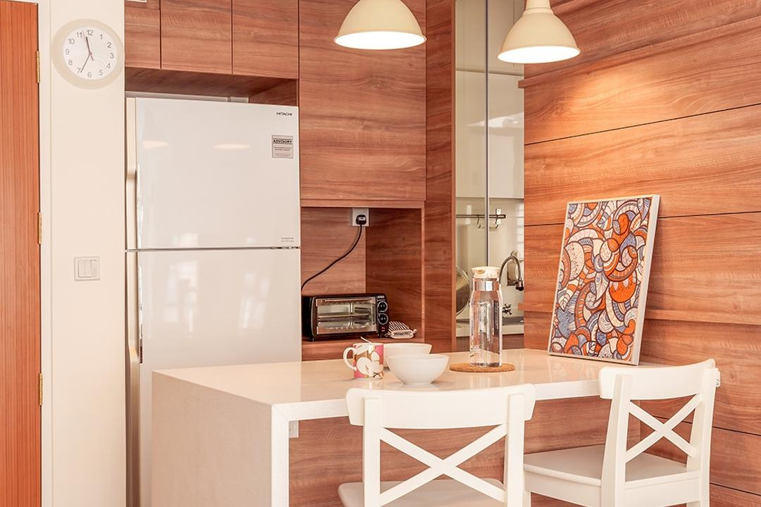 Fernvale Street (Block 473A), Icon Interior Design, Scandinavian, Minimalistic, Kitchen, HDB, Wall Hanging Lights, Pendant Lights, Dining Chair, Wooden Kitchen Table Covered By Marble White Surface, White Refrigerator, Chair, Furniture, Indoors, Interior Design
