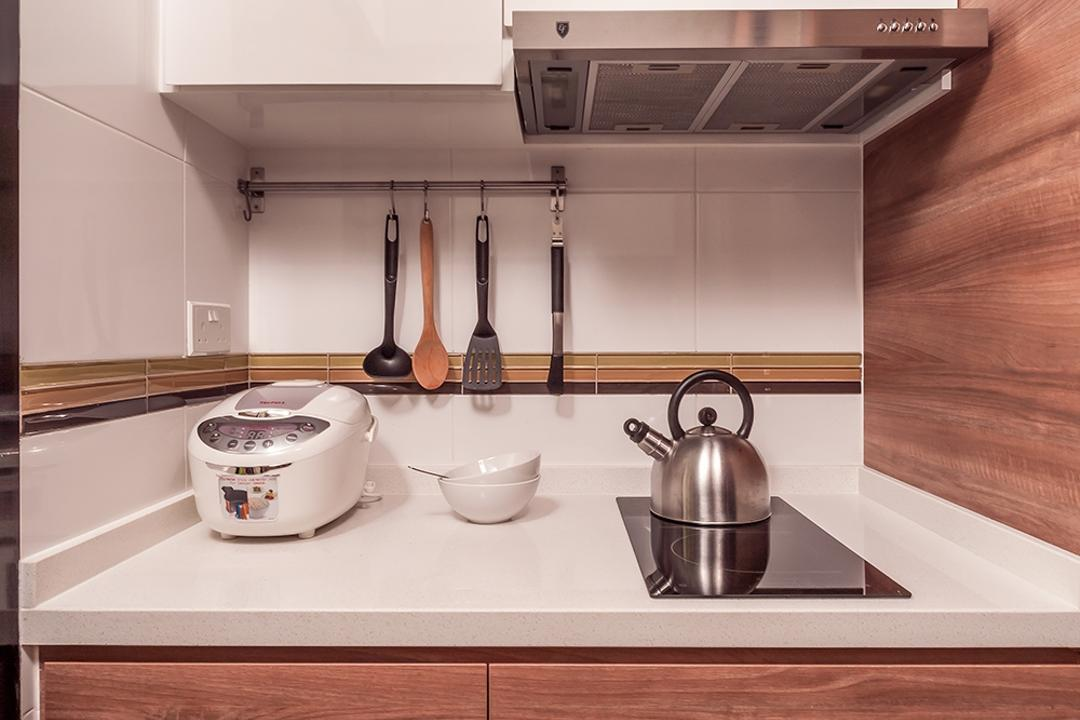 Fernvale Street (Block 473A), Icon Interior Design, Scandinavian, Minimalistic, Kitchen, HDB, Wooden Cupboard With White Marblet Op, Kichen Stove, Wall Mounted White Cabinet, Cooker, Kettle, Pot