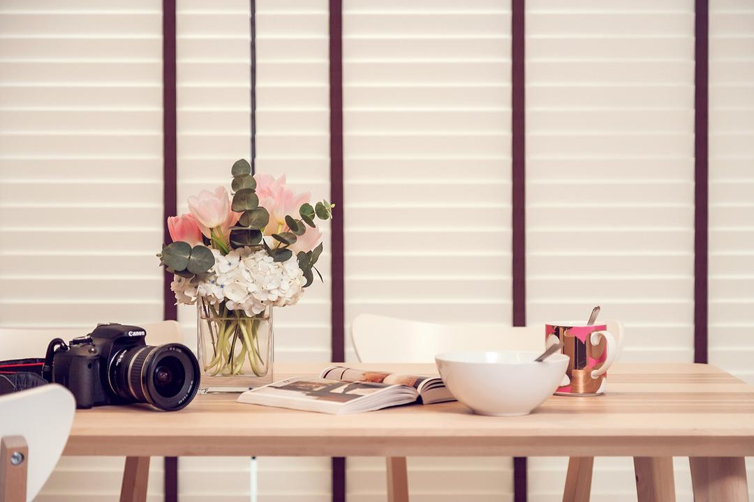 Fernvale Street (Block 473A), Icon Interior Design, Scandinavian, Minimalistic, Dining Room, HDB, Curtain, Home Decor, Window, Window Shade, Flora, Jar, Plant, Potted Plant, Pottery, Vase, Camera, Electronics