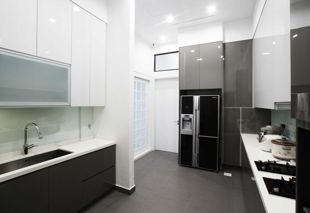 Modern, Landed, Kitchen, Jalan Seaview, Interior Designer, Metamorph Design, Kitchen Tiles, Counter Top, Kitchen Counter, White Laminate, Laminate, Bathroom, Indoors, Interior Design, Room, Appliance, Electrical Device, Oven