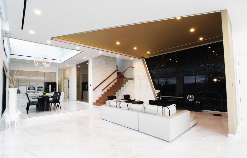 Modern, Landed, Living Room, Jalan Seaview, Interior Designer, Metamorph Design, Marble Floor, Marble Flooring, White Interior, Dining Room, Indoors, Interior Design, Room, Dining Table, Furniture, Table